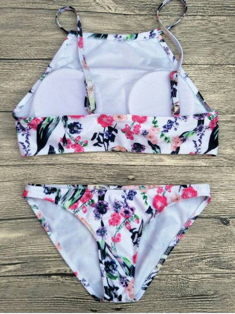 women Floral Printed Spaghetti Strap Bikini Set - WHITE M Mobile