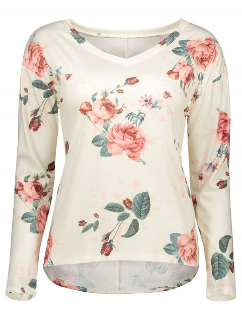 hot V Neck Long Sleeve Floral Tee - OFF-WHITE L Mobile
