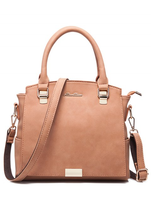outfits Double Pocket Zipper Faux Leather Tote Bag - PINKBEIGE  Mobile