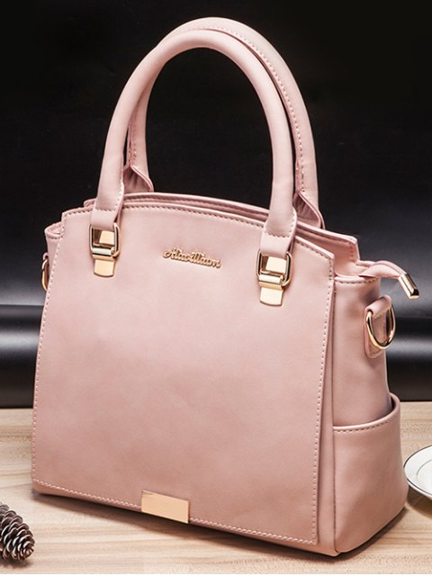 shops Double Pocket Zipper Faux Leather Tote Bag - PINK  Mobile