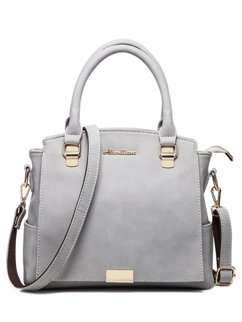 latest Double Pocket Zipper Faux Leather Tote Bag - LIGHT GRAY  Mobile