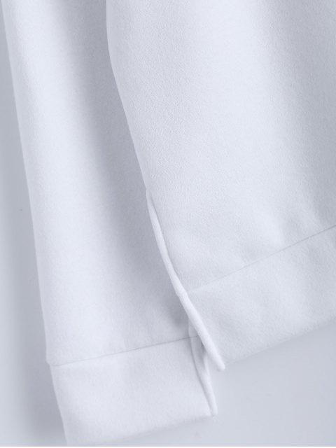 best Cold Shoulder High Neck Sweatshirt - WHITE S Mobile