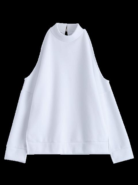 lady Cold Shoulder High Neck Sweatshirt - WHITE M Mobile