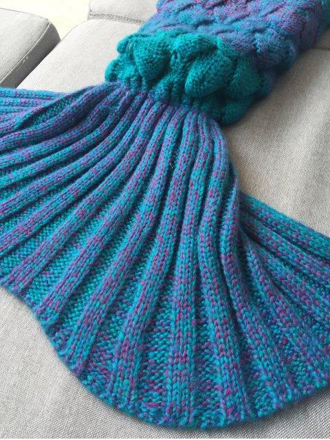 shop Kids Sleeping Bag Knitted Mermaid Blanket - BLUE  Mobile