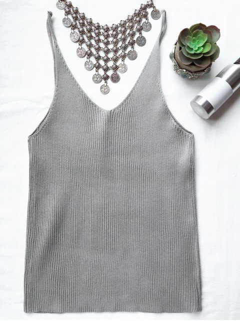 shops Spaghetti Strap Ribbed Knitted Top - SMOKY GRAY ONE SIZE Mobile