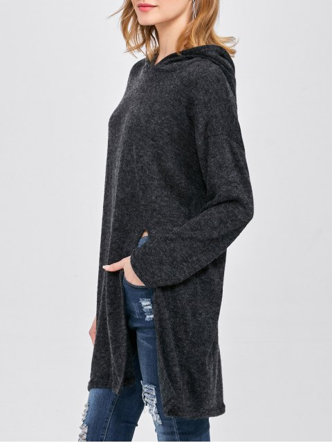 unique High Slit Hooded T-Shirt - BLACK ONE SIZE Mobile