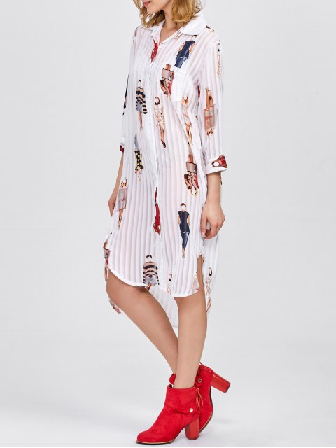 ladies Cartoon Print Pleated Shirt Dress - WHITE ONE SIZE Mobile