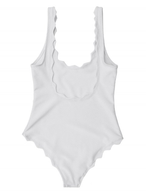 best Low Back Scalloped One Piece Swimwear - WHITE M Mobile
