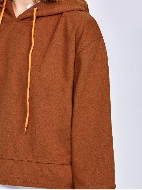 women Drop Shoulder Loose Hoodie - BROWN L Mobile