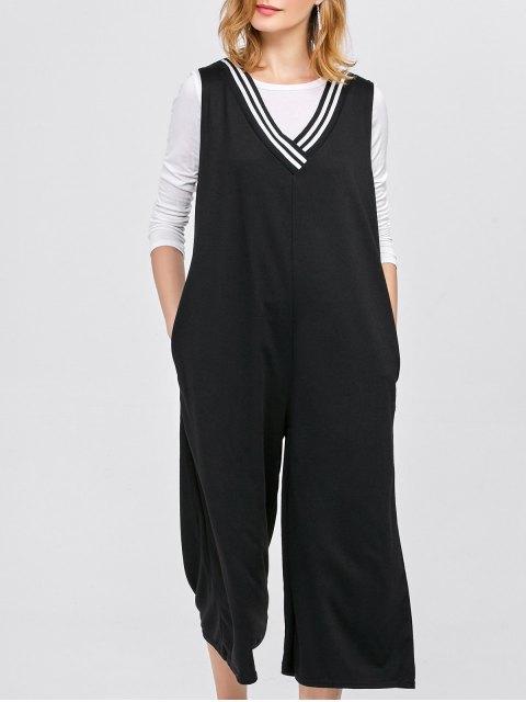 chic V Neck Loose Jumpsuit with Pockets - BLACK M Mobile