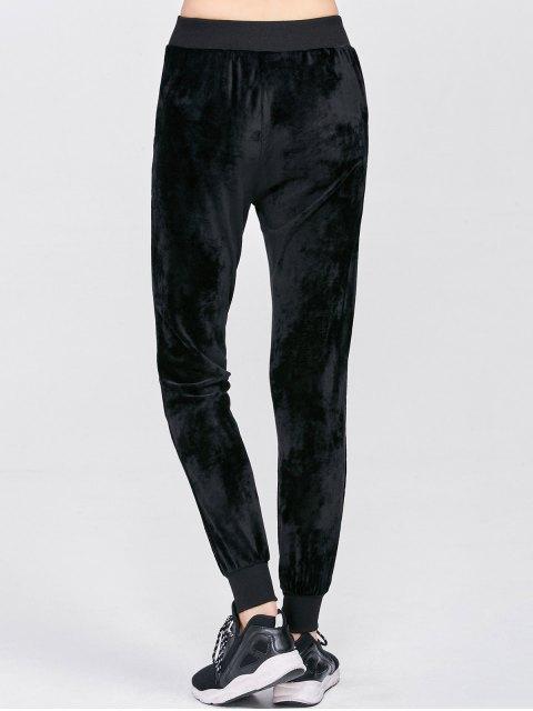 fashion Drawstring Velvet Pants - BLACK M Mobile