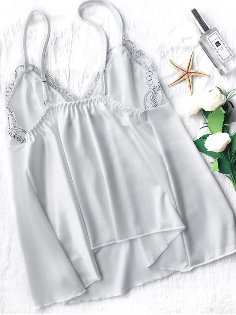 women Lace Satin Babydoll Slip Dress - WHITE M Mobile