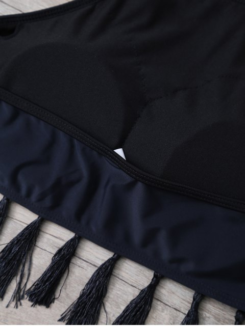 affordable High Neck Tasselled Bohemian Bikini - BLACK S Mobile