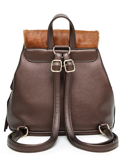 hot Fringe Faux Horsehair Panel Backpack - BROWN  Mobile