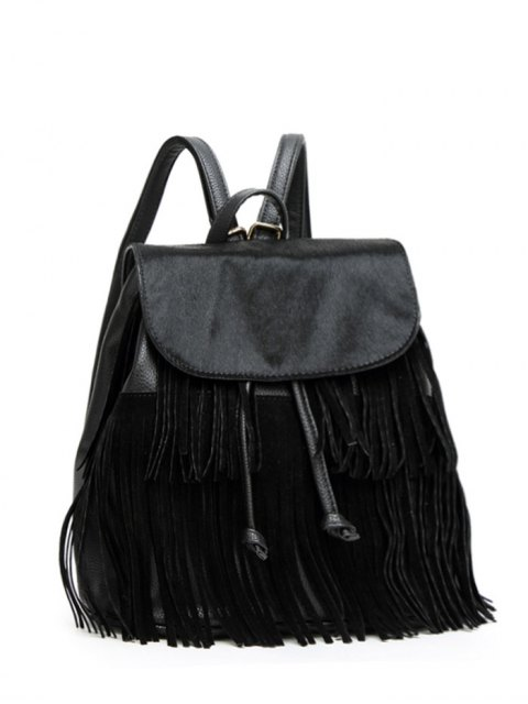 outfit Fringe Faux Horsehair Panel Backpack - BLACK  Mobile