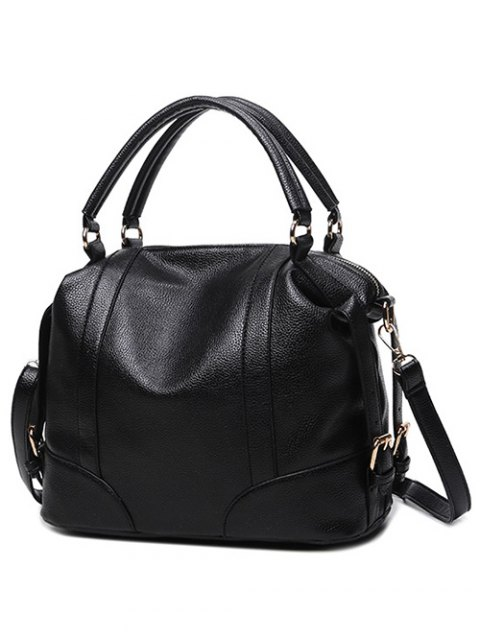 latest Buckle Straps Faux Leather Handbag - BLACK  Mobile