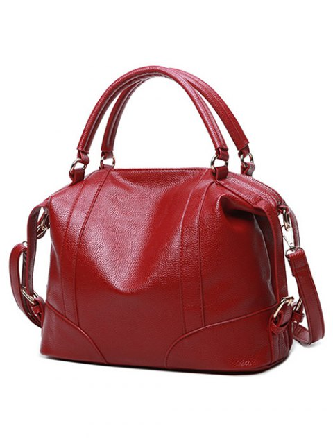trendy Buckle Straps Faux Leather Handbag - RED  Mobile