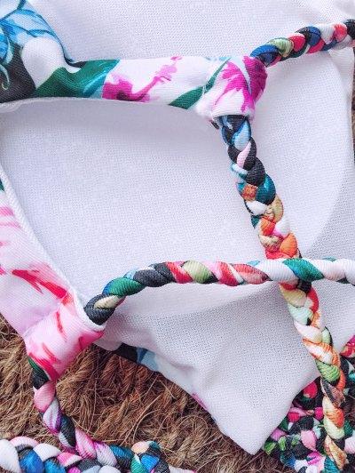 Floral Print Braided Strappy Bikini - FLORAL XL Mobile