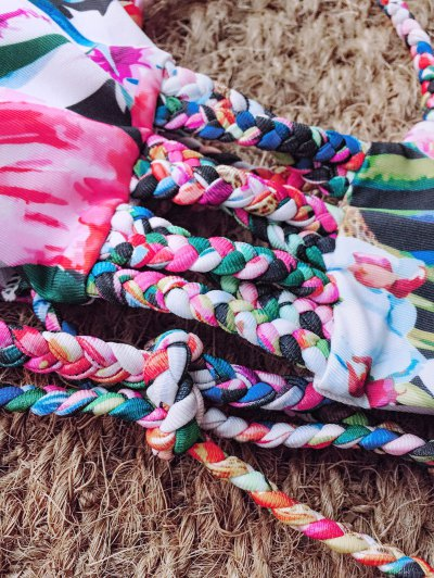 Floral Print Braided Strappy Bikini - FLORAL M Mobile