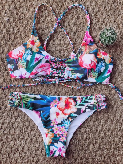Floral Print Braided Strappy Bikini - FLORAL S Mobile