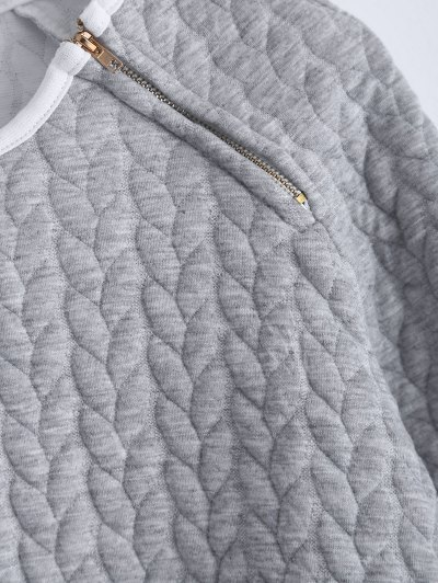 Zipper Embellished Color Match Top - GRAY M Mobile