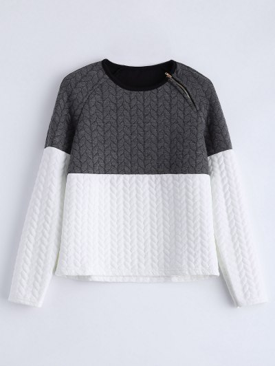 Zipper Embellished Color Match Top - GREY AND WHITE L Mobile