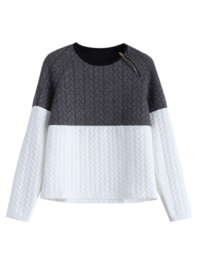 Zipper Embellished Color Match Top - GREY AND WHITE M Mobile