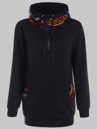 Half Zip Print Panel Hoodie - BLACK S Mobile
