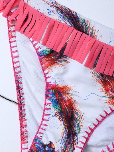 Printed Tassels Bikini Set - RED L Mobile