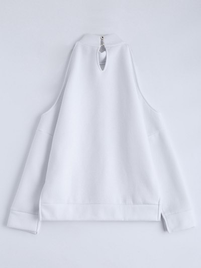 Cold Shoulder High Neck Sweatshirt - WHITE XL Mobile