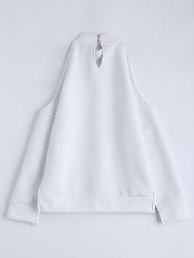 Cold Shoulder High Neck Sweatshirt - WHITE L Mobile