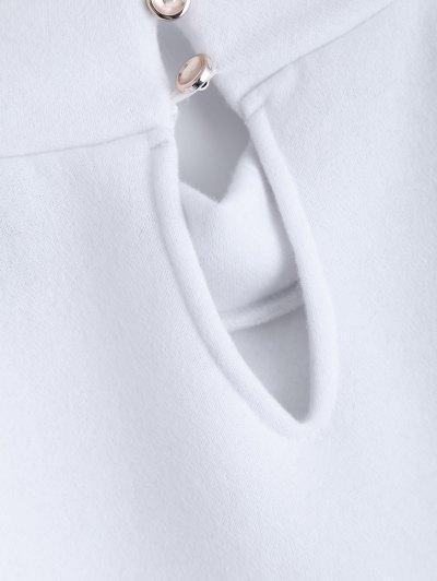 Cold Shoulder High Neck Sweatshirt - WHITE M Mobile