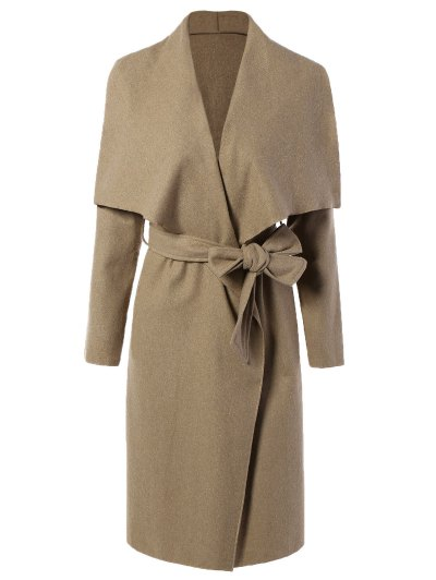 Tie Waist Shawl Collar Wrap Coat - CAMEL M Mobile