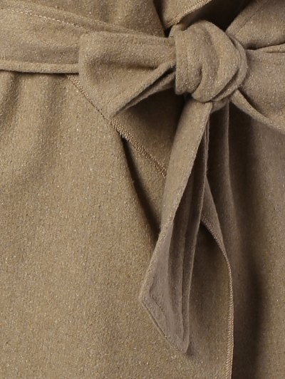 Tie Waist Shawl Collar Wrap Coat - CAMEL S Mobile
