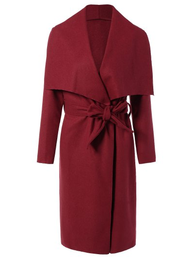 Tie Waist Shawl Collar Wrap Coat - RED L Mobile