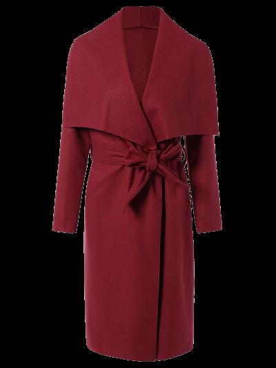 Tie Waist Shawl Collar Wrap Coat - RED M Mobile