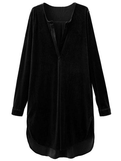 Split Neck Velvet Tunic Dress - BLACK S Mobile