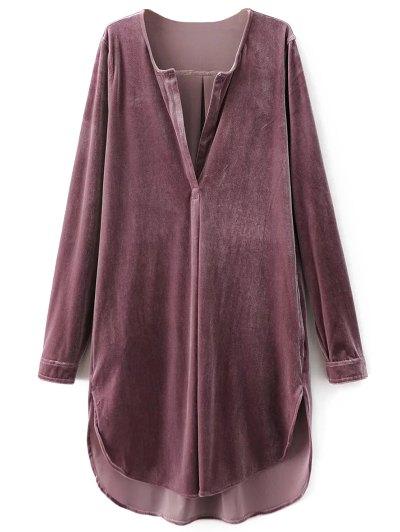 Split Neck Velvet Tunic Dress - PINK SMOKE L Mobile