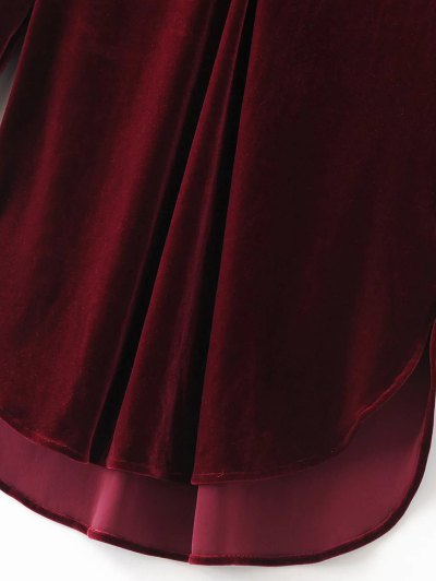 Split Neck Velvet Tunic Dress - PINK SMOKE M Mobile