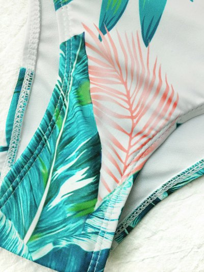 High Neck Paml Tree Print Bikini - WHITE M Mobile