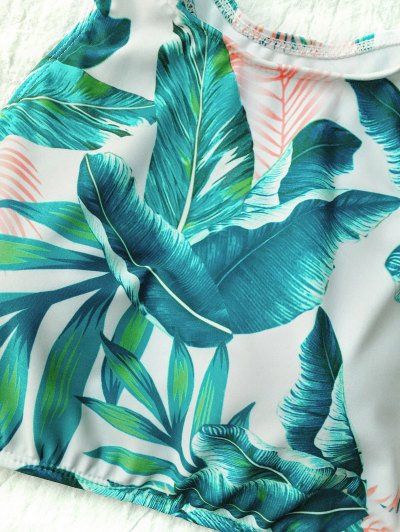 High Neck Paml Tree Print Bikini - WHITE S Mobile