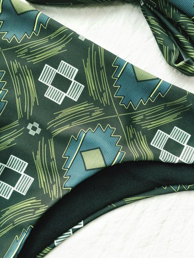Tile Print High Neck Bikini - OLIVE GREEN L Mobile
