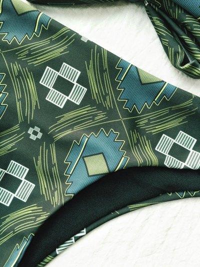 Tile Print High Neck Bikini - OLIVE GREEN S Mobile