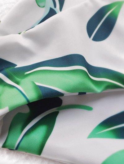 Strappy Leaf Print Plunge Bikini - WHITE L Mobile