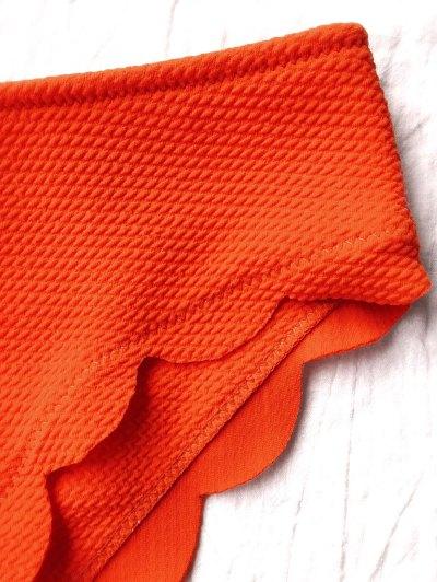 Wireless Scalloped One Shoulder Bikini - ORANGE RED L Mobile