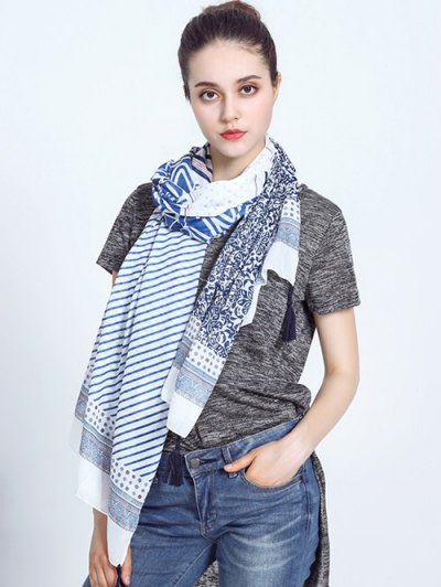 Voile Scarf with Striped Leaf Printed - BLUE AND WHITE  Mobile