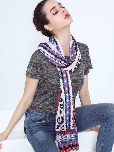 Tribal Print Voile Scarf with Tassel Edge - COLORMIX  Mobile