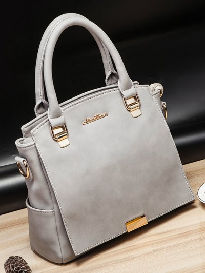 Double Pocket Zipper Faux Leather Tote Bag - LIGHT GRAY  Mobile
