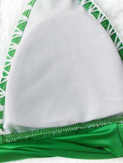Contrast Stitching Plunge Halter Bikini - GREEN XL Mobile