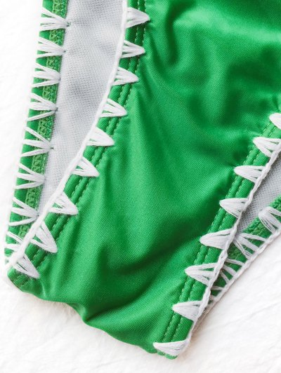Contrast Stitching Plunge Halter Bikini - GREEN L Mobile